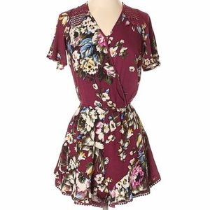 Xhilaration Maroon and Floral Romper